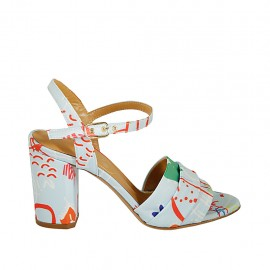 Woman's strap sandal in light blue and multicolored fabric heel 7 - Available sizes:  32, 33, 34, 42, 43, 44, 45, 46