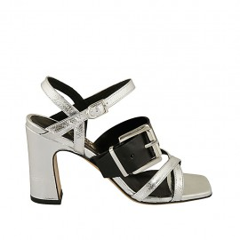 Woman's strap sandal with buckle in black and silver laminated leather heel 8 - Available sizes:  32, 33, 34, 42, 43, 44, 45, 46
