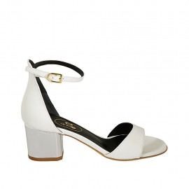 Woman's open shoe in white leather and silver laminated leather with strap heel 5 - Available sizes:  32, 33, 34, 42, 43, 44, 45, 46