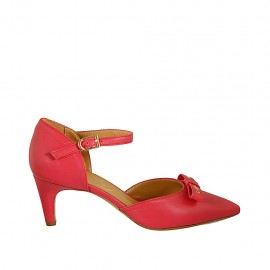 Woman's open shoe in red leather with strap and bow heel 6 - Available sizes:  33, 34, 42, 43, 44, 45, 46
