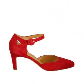 Woman's open shoe with strap in red suede heel 7 - Available sizes:  32, 33, 34, 42, 43, 44, 45, 46