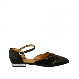 Woman's open shoe with strap and studs in black leather heel 1 - Available sizes:  33, 34, 42, 43, 44, 45, 46