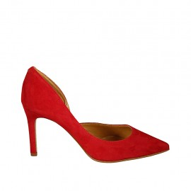 Woman's open shoe in red suede heel 8 - Available sizes:  31, 33, 34, 42, 43, 44, 45, 46, 47