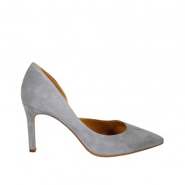 Woman's open shoe in blue grey suede heel 8 - Available sizes:  32, 33, 34, 42, 43, 44, 45, 46, 47