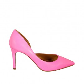 Woman's pump with sidecut in fluorescent fuchsia leather heel 8 - Available sizes:  33, 34, 42, 43