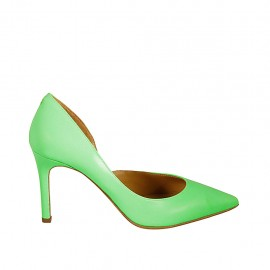 Woman's pump with sidecut in fluorescent green leather heel 8 - Available sizes:  33, 34, 42, 43, 44
