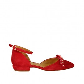 Woman's open shoe with strap, bow and studs in red suede heel 2 - Available sizes:  33, 34, 42, 43, 44, 45, 46