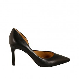 Woman's open pump with sidecut in black leather heel 8 - Available sizes:  31, 32, 34, 42, 43, 44, 45, 46