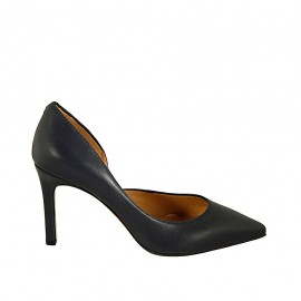 Woman's pump with sidecut in dark blue leather heel 8 - Available sizes:  31, 32, 33, 34, 43, 44, 45, 46, 47