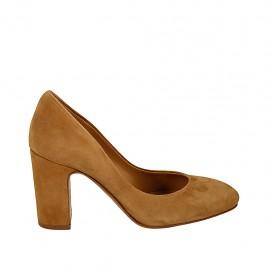 Zapato de salon en gamuza de color tabaco para mujer tacon 8 - Tallas disponibles:  33, 34, 42, 43, 44
