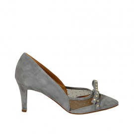 Zapato de salon puntiagudo para mujer con moño y tachuelas en tela de lunares transparente y gamuza azul grisaceo tacon 7 - Tallas disponibles:  32, 33, 34, 42, 43, 44, 45, 46