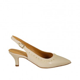 Woman's slingback pump with studs in nude patent leather heel 5 - Available sizes:  33, 34, 42, 44, 45, 46