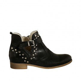 Woman's ankle boot with zipper, buckle and studs in black leather heel 3 - Available sizes:  42, 43, 44, 46