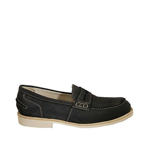 Men's loafer in blue nubuck leather  - Available sizes:  37, 38, 46, 47, 48, 49, 50