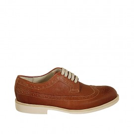 Men's laced derby shoe with Brogue decorations in tan-colored leather  - Available sizes:  37, 38, 46, 47, 48, 49, 50