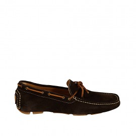 Men's laced car shoe in dark brown suede - Available sizes:  37, 38, 46, 47, 48, 49, 50, 51, 52