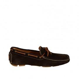 Mocasino para hombres con cordones en gamuza marron oscuro - Tallas disponibles:  37, 38, 46, 47, 48, 49, 50, 51, 52