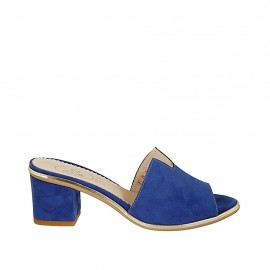 Woman's open mules in cornflower blue suede heel 5 - Available sizes:  31, 32, 34, 43, 44