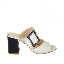 Woman's mules with buckle in white leather and blue patent leather heel 7 - Available sizes:  32, 42, 43, 44