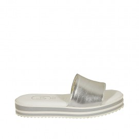 Woman's mules in silver laminated leather wedge heel 3 - Available sizes:  32, 33, 42, 43, 44