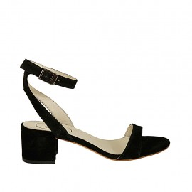 Woman's sandal with anklestrap in black suede heel 4 - Available sizes:  32, 33, 34, 42, 43, 44, 45