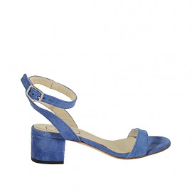 Woman's sandal with anklestrap in light blue suede heel 4 - Available sizes:  32, 33, 34, 42, 43, 44, 45