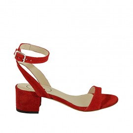 Woman's sandal with anklestrap in red suede heel 4 - Available sizes:  32, 33, 34, 42, 43, 44, 45