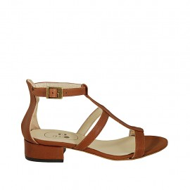 Woman's open shoe with strap in brown leather heel 3 - Available sizes:  32, 33, 34, 42, 43, 44, 45
