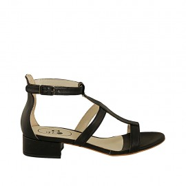Woman's open shoe with strap in black leather heel 3 - Available sizes:  32, 33, 34, 42, 43, 44, 45