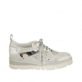 Zapato con cordones para mujer en gamuza gris y piel laminada plateada cuña 3 - Tallas disponibles:  32, 33, 34, 42, 43, 44, 45