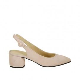 Zapato destalonado para mujer en gamuza rosa tacon 5 - Tallas disponibles:  32, 33, 34, 42, 43, 44, 45