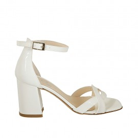 Woman's open shoe with strap in white patent leather heel 7 - Available sizes:  34, 42, 43, 44, 45
