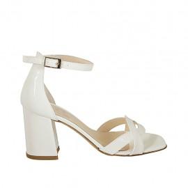 Zapato abierto para mujer en charol blanco con cinturon tacon 7 - Tallas disponibles:  34, 42, 43, 44, 45