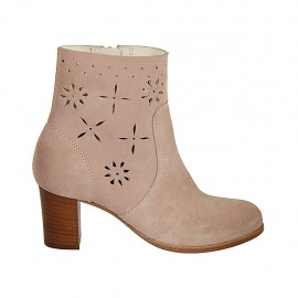 Woman's ankle boot with zipper in rose suede and pierced suede heel 6 - Available sizes:  33, 34, 42, 43, 44, 45, 46