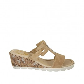 Woman's open mules with rhinestones in beige suede and printed leather wedge heel 5 - Available sizes:  31, 34, 42, 43, 45