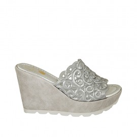 Woman's open mules with platform in grey suede and silver laminated pierced leather wedge heel 9 - Available sizes:  31, 33, 34, 42