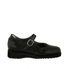 Chaussure avec courroie et semelle amovible pour femmes en cuir noir talon compensé 3 - Pointures disponibles:  33, 34, 43, 44, 45
