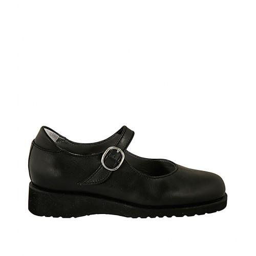 Zapato con cinturon y plantilla extraible para mujer en piel de color negro cuña 3 - Tallas disponibles:  33, 43, 44