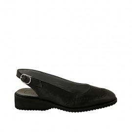 Zapato destalonado para mujer en piel de color negra tacon 3 - Tallas disponibles:  33, 34, 42