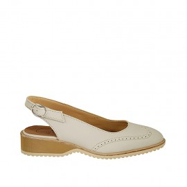Zapato destalonado para mujer en piel de color beis tacon 3 - Tallas disponibles:  34, 42, 45