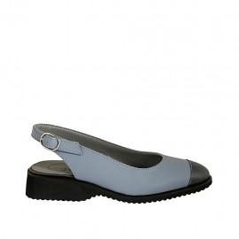 Slingback für Damen aus hellblauem Leder und blauem Lackleder Absatz 3 - Verfügbare Größen:  34, 44