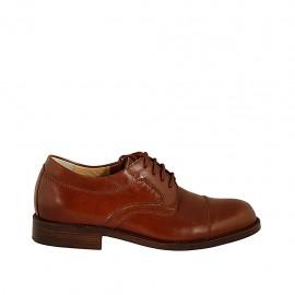 Zapato derby con cordones y puntera para hombres en piel de color cuero - Tallas disponibles:  36, 37, 38, 46, 47, 48, 49, 50