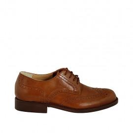 Zapato derby con cordones y diseño Brogue para hombre en piel de color cuero - Tallas disponibles:  36, 37, 38, 46, 47, 48, 49, 50, 52