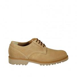 Zapato para hombre con cordones en piel nubuk beis - Tallas disponibles:  37, 38, 46, 47, 48, 49, 50