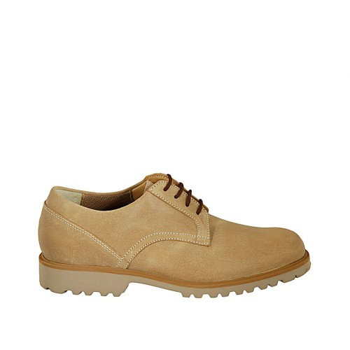 Men's laced shoe in beige nubuck leather - Available sizes:  37, 38, 46, 47, 48, 49, 50