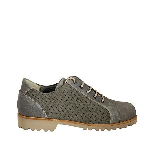 Zapato para hombre con cordones y plantilla extraible en piel nubuk y gamuza perforada gris - Tallas disponibles:  37, 38, 46, 48, 49, 50