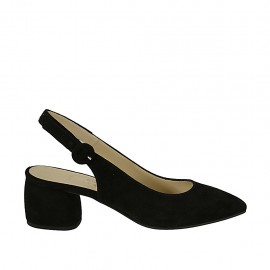 Zapato destalonado para mujer en gamuza negra tacon 5 - Tallas disponibles:  45