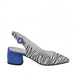 Zapato destalonado para mujer en gamuza azul aciano y a rayas brillante blancas y negras tacon 5 - Tallas disponibles:  32, 33, 34, 42, 43