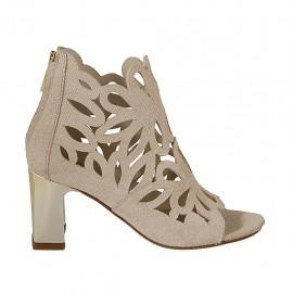 Chaussure ouverte pour femmes avec fermeture éclair en daim perforé imprimé scintillant rose poudre talon 7 - Pointures disponibles:  32, 33, 34, 42, 43, 44, 45, 46