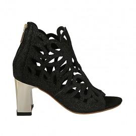 Chaussure ouverte pour femmes avec fermeture éclair en daim perforé imprimé scintillant noir talon 7 - Pointures disponibles:  32, 33, 34, 43, 44, 45, 46